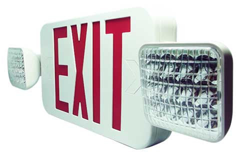 LED Exit Emergency Combo Unit, Red and White - Remote Capable