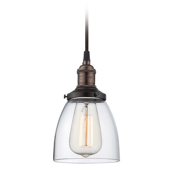 Pendant with Clear Glass in Bronze Vintage Light Bulb