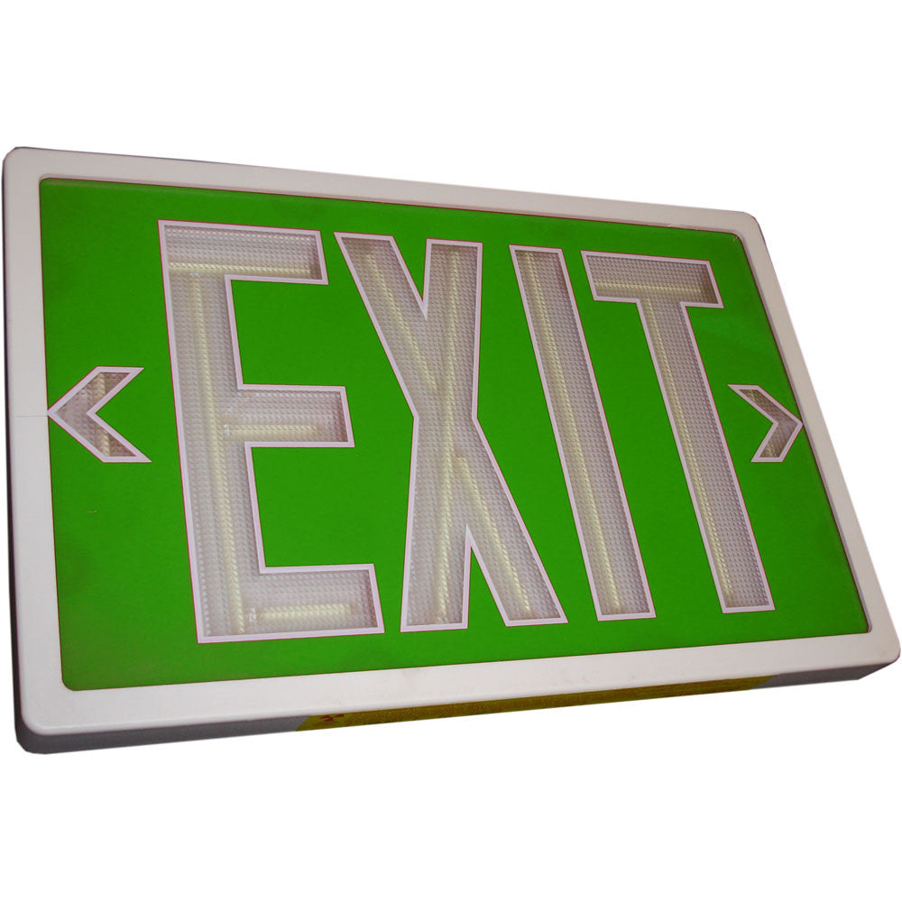 Tritium Exit Sign Double Green Face White 20 Year