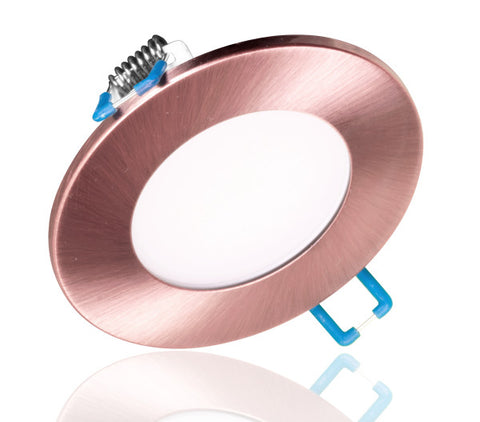 3 in. Round Aged Copper Flat Panel LED Downlight in 5000K