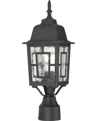 17 Inch Outdoor Post Lights in Textured Black Finish with Clear Water Glass