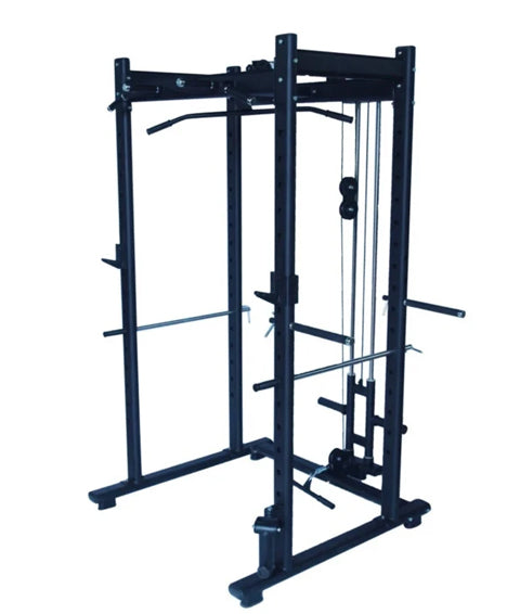 Commercial Power Rack with Lat Pulley - Black