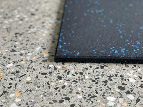 Commercial Grade Rubber Gym Mats / Flooring - Blue Fleck  | In Stock