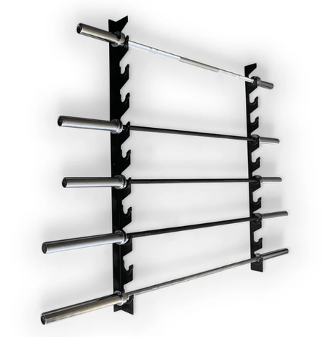 Wall Mounted Barbell Holder - 10 Bar Rack - Catch Fitness - fitness equipment