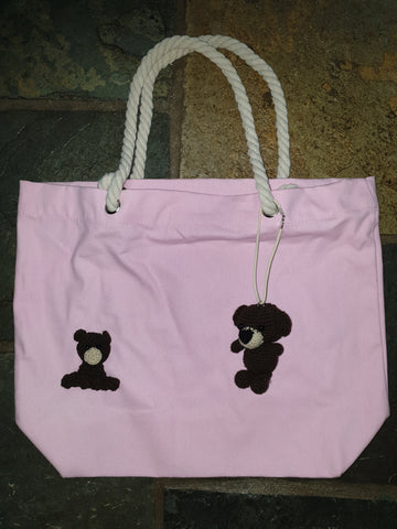 Cotton Canvas Bag, Pink, Bob Bear