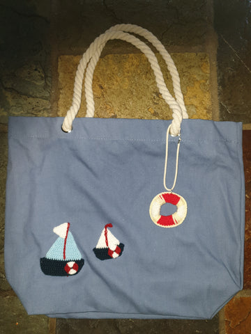 Cotton Canvas Bag, Blue, Floaty Boat