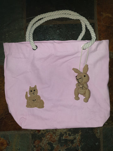 Cotton Canvas Bag, Pink, Clancy Kangaroo and Joey