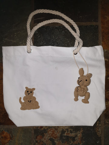 Cotton Canvas Bag, Natural, Clancy Kangaroo and Joey