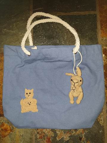 Cotton Canvas Bag, Blue, Clancy Kangaroo and Joey