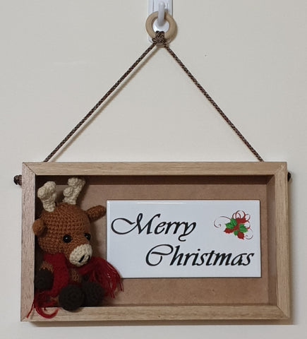3D Sign - Merry Christmas - Reindeer