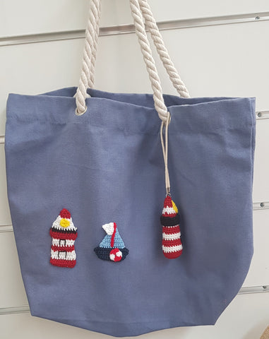 Cotton Canvas Bag, Blue, Rudolph Red Lighthouse