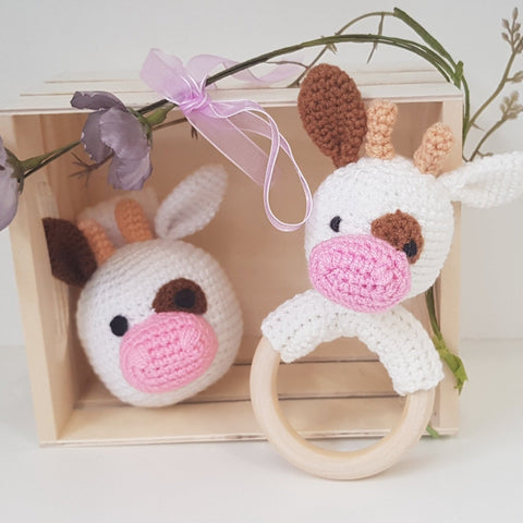 Baby Gift Set - Cow Teething Rattle and Pram Toy
