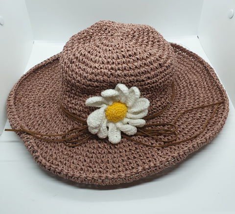 Adjustable Floral Garden Hat - Rose Pink with White Crochet Flower