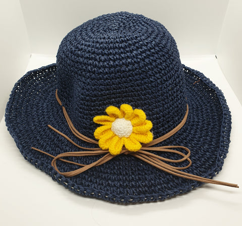 Adjustable Floral Garden Hat - Navy with Yellow Crochet Flower