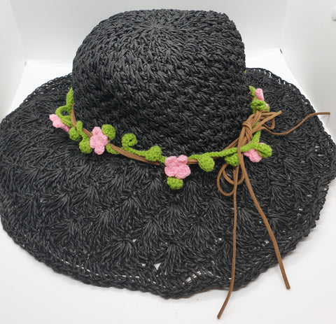 Adjustable Beach Straw Hat - Black with Pink Crochet Flowers