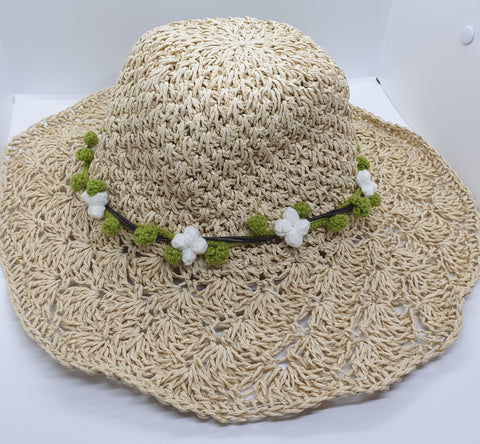 Adjustable Beach Straw Hat - Natural with White Crochet Flowers