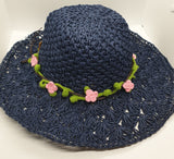 Adjustable Beach Straw Hat - Navy with Pink Crochet Flowers