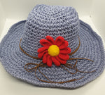 Adjustable Floral Garden Hat - Lilac with Red Crochet Flower