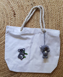 Cotton Canvas Bag, White, Kylie Koala