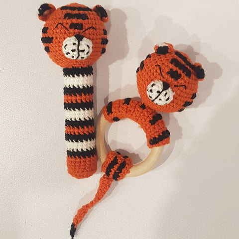 Baby Gift Set - Tiger Strait Rattle and Teething Rattle