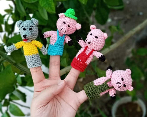 Funny finger Puppets - Three Little Pigs (4 figures)