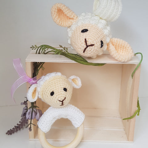 Baby Gift Set - Lamb Teething Rattle and Pram Toy