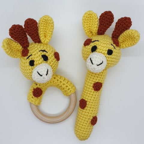 Baby Gift Set - Giraffe Strait Rattle and Teething Rattle