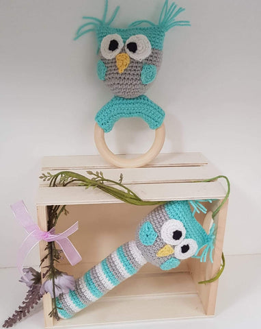 Baby Gift Set - Owl Strait Rattle and Teething Rattle