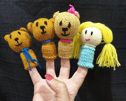 Funny finger Puppets - Goldilocks and the Three Bears (4 figures)
