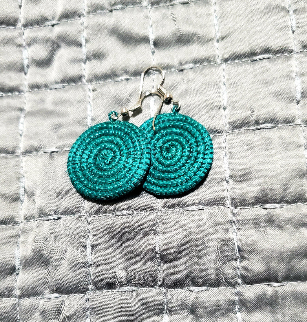 Woven Disc Earrings, Small- Green