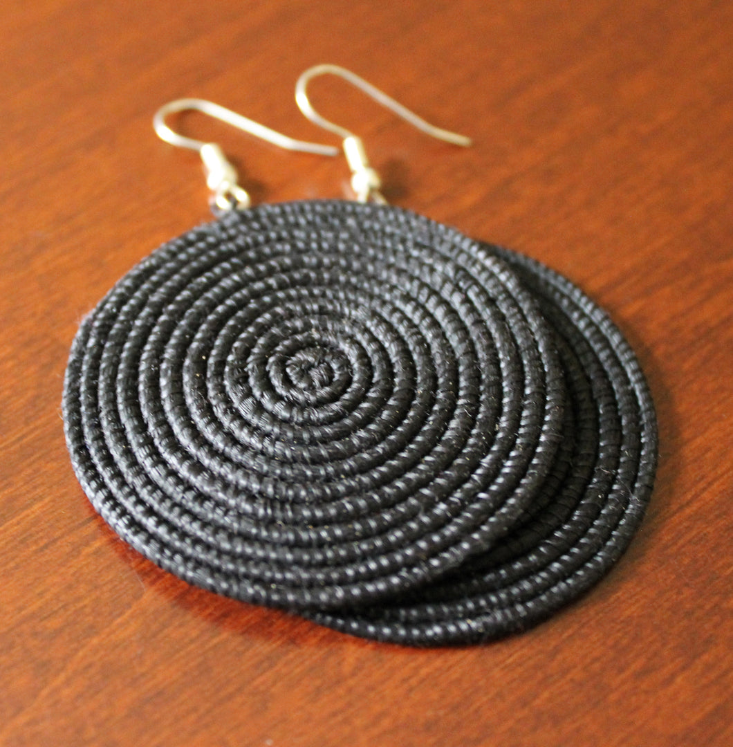 Woven Disc Earrings, Large-Black