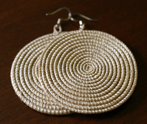 Woven Disc Earrings, Large- Tea