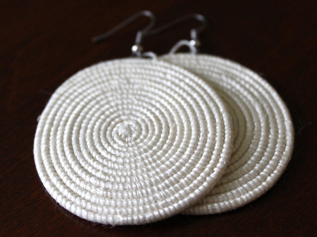 Woven Disc Earrings, Large- White