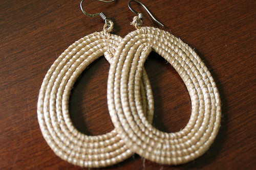 Woven Loop Earrings- Tea