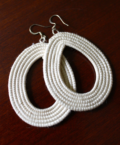 Woven Loop Earrings- White