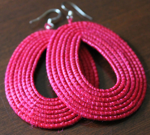 Woven Loop Earrings- Raspberry