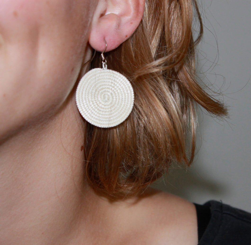Woven Disc Earrings, Small- White