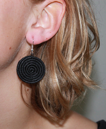 Woven Disc Earrings, Small- Black