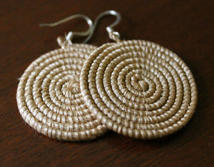 Woven Disc Earrings, Small- Tea