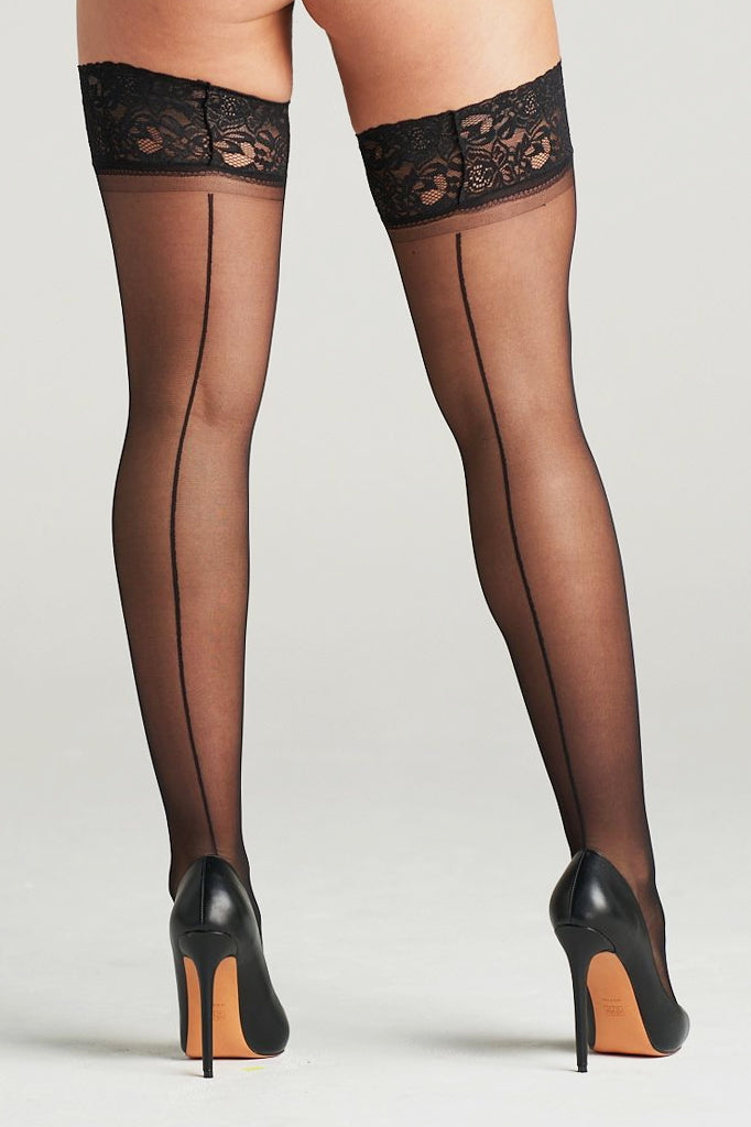 Lace Top Back Seam Thigh Highs