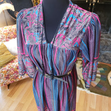 Load image into Gallery viewer, 70s Floral Striped Sheer House Dress - Womens Large - Polyester Batik