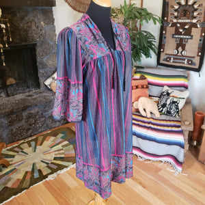 70s Floral Striped Sheer House Dress - Womens Large - Polyester Batik