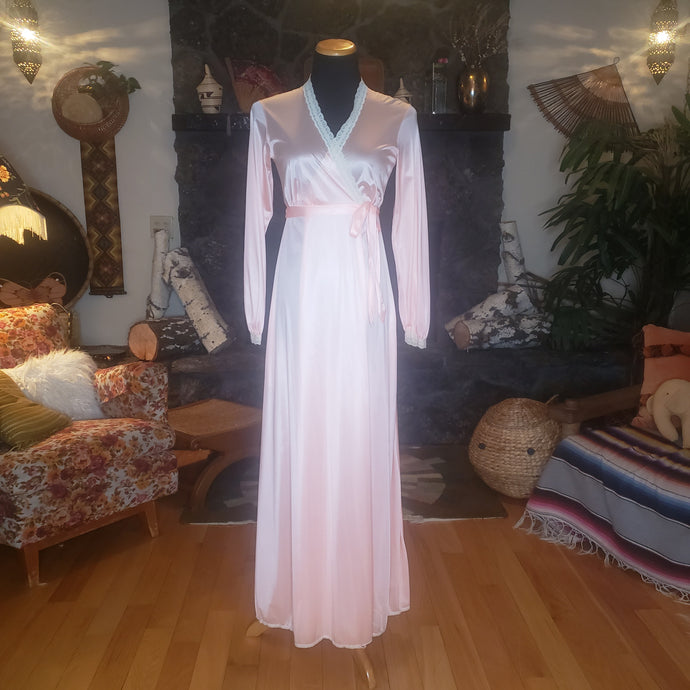 70s Long Peachy Nylon Robe with Lace Trim - Miss Elaine - Womens XS Small