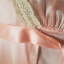 Load image into Gallery viewer, 70s Long Peachy Nylon Robe with Lace Trim - Miss Elaine - Womens XS Small