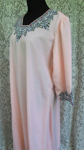 Vintage Pink Embroidered Boho Tunic Dress - Kameez Qameez South Asian Indian Arabic Tunic Dress - Womens Plus Size XL