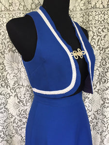 SALE. 1960s Mod Blue Bolero Vest Skirt Suit SIZE 6 - Vintage 60s Vest and Skirt Suit - White Trim Frog Closures Buttons - Womens Small Mediu