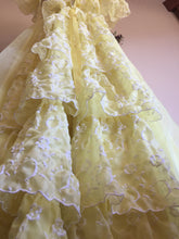 Load image into Gallery viewer, Midcentury Debutante Dress - Flounce Bustle - Victorian Style Gown - Beauty and the Beast Yellow Belle Dress - Small XS - Civil War Dress
