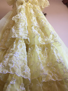 Midcentury Debutante Dress - Flounce Bustle - Victorian Style Gown - Beauty and the Beast Yellow Belle Dress - Small XS - Civil War Dress