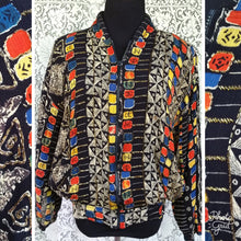 Load image into Gallery viewer, Indonesian Rayon Bomber Jacket - Bead Detail - Pockets - Street Style - Urban Style - Brooklyn Style - Hipster Jacket - Batik Jacket