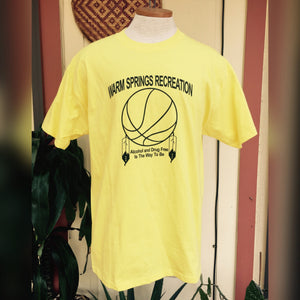 Vintage WARM SPRINGS Alcohol Drug Free T-shirt - Mens Large - Mens Yellow Shirt - Oregon T-shirt - Basketball Feather Dreamcatcher -